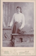 ANTIQUE CABINET PHOTO. LADY WITH FLOWER BASKET . BIRKENHEAD STUDIO - Photographs
