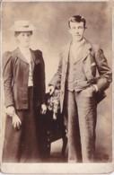 ANTIQUE CABINET PHOTO. SMART YOUNG COUPLE.  NO STUDIO - Photographs