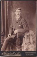 ANTIQUE CABINET PHOTO. SMART MOUSTACHED MAN. GLASGOW/BELFAST STUDIO - Photographs