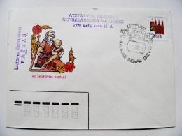 Cover Stamp Ussr Lithuania Kaunas Cancel Lietuvos Respublikos Pastas 1990 Mother Day - Lithuania