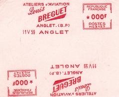 Anglet 1959 Pyrénées Atlantiques Ateliers D'Aviation Louis Breguet Empreintes Machines à Affranchir Avion - Marcofilie (Brieven)
