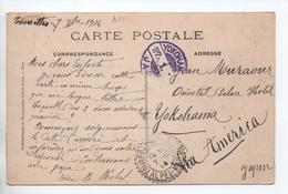 1914 - CP De TOURETTES SUR LOUP (ALPES MARITIMES) Pour YOKOHAMA (JAPON / JAPAN) Avec SEMEUSE CROIX ROUGE - Marcophilie (Lettres)