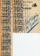 RATIONNEMENT BORDEREAU DE FAUX TICKETS DE CARBURANT AUTO GIRONDE GENSAC FACTURE TRAVAUX PUBLICS NADEAU 1948 - Documenti Storici