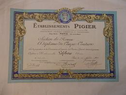 Diplôme De Coupe-couture Des Ets Pigier Section De Rouen à Melle Lefebvre TThérése à Paris Le 15 Juillet 1942. - Diploma & School Reports