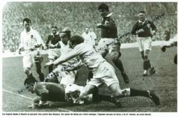 RUGBY : PHOTO (1951), TOURNOI DES 5 NATIONS, ANGLETERRE-FRANCE (3-11), TWICKENHAM, ESSAI DE BASQUET SUR PASSE DE DUFAU - Rugby