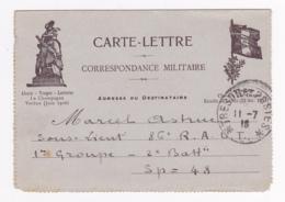 """Carte-Lettre Illustrée - Correspondance Militaire """"297e Régiment D'Infanterie Alpine, Secteur 193"""" Circulé 1918 - Marcophilie (Lettres)"""