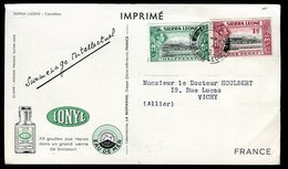 Sierra Leone - Carte Publicitaire Ionyl ( Biomarine De Dieppe ) De Freetown Pour Vichy En 1953 - O 317 - Sierra Leone (...-1960)