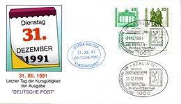 """(BT1) BRD Sonderumschlag """"Letzter Tag Der Kursgültigkeit"""" MiF DDR (Deutsche Post) Mi 3345/45, SSt 31.12.1991 BERLIN 12 - Storia Postale"""