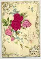 """CHROMO En Relief Avec Beaucoup De Roses Pour """"Bonne Année"""" - Fantaisies"""