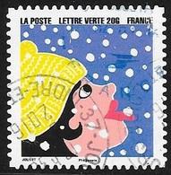 TIMBRE N° 1197   - ADHESIF - FETES DE FIN D'ANNEE :  FEMME SOUS LA NEIGE   - OBLITERE  - 2015 - Francia
