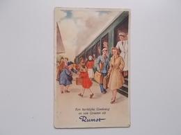 Een Hartelijke Goededag En Vele Groeten Uit RUMST , Trein In Station, Reizigers - Rumst