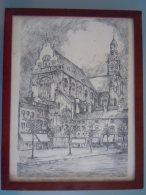 Gravure St. Paulus Kerk Te Antwerpen 117/150  Frans Vanderveken 1977 Met Certificaat Form.27 X 35 Cm Kader Kunststof - Estampes