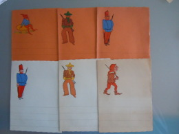 Vintage Briefpapier 6 Stuks Papier à écrire 6 Pièces Soldat Soldaat Cowboy Nain Gnome Kabouter Form. 11,8 X 16 Cm - Vieux Papiers