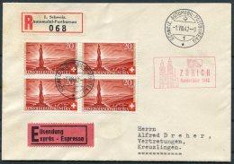 1942 Switzerland Automobil Postbureau / Mobile Post Office Egistered Espresso Express Cover. Zurich Bundesfeier - Marcophilie