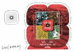 Belgium 2018 FDC Signed By Designer, World War I Poppy, English Soldiers, Menin Memorial, Graveyard Tyne Cot - Prima Guerra Mondiale