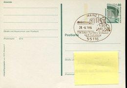 39278 Germany, Special Postmark Mainz 1996 Johannes  Gutenberg City ,goldsmith And Typographer,orfevre+typographe - Celebrità