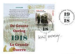 Belgium 2018 FDC Signed By Designer, World War I, Liberation - Prima Guerra Mondiale