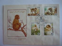 Algerie 1988 FDC WWF Le Magot Macaque Makak Faune Protégé Obl. Alger Yv 928-931 - Algérie (1962-...)