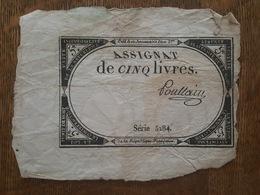 An 2 ème - Assignat De Cinq Livres, Signé Poullain, Série 5284 - Assignats