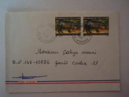 Côte D'Ivoire 1981 Lettre Cover De Danguira Pour Paris  Hippopotame Nain Nijlpaard Yv 488 - Côte D'Ivoire (1960-...)