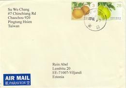 GOOD TAIWAN Postal Cover To ESTONIA 2018 - Good Stamped: Fruits - 1945-... Republic Of China