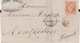 """FRANCE : MARITIME .N° 23 . OBL ANCRE . ET CAD PAQUEBOT """" INDUS """" . DE CONSTANTINOPLE . 1866 . - Marcophilie (Lettres)"""