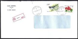 Cob Buzin 2697 Pie Bavarde+2854 Fleur Geranium Sur Lettre Recommandé  Namur - Bélgica
