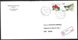 Cob 2697 Pie Bavarde +2854 Fleur Geranium Sur Lettre Recommandé  Namur - Bélgica