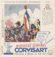 Buvard  - BISCOTTES CORVISART -  EPINAL -  Série Historique - N° 12 - 1815 Bataille De Waterloo - Buvards, Protège-cahiers Illustrés
