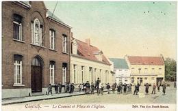 CONTICH - Le Couvent Et Place De L' Eglise - Noodstempel Contich 1919 Cachet - Kontich