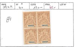 OBOCK N° 40 * BLOC DE 4 - Unused Stamps
