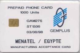 GEMPLUS : EGY02 Gemplus TEST MANUFACTURING CARD MENATEL/EGYPTE  1000u 03/08/98 USED - Egitto