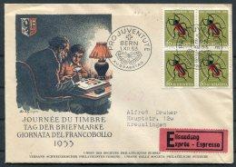 1953 Switzerland Pro Juventute Beattle Bern FDC Ausgebetag, Journee Du Timbre Expess Espresso Cover - Pro Juventute