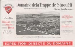 Buvard  - DOMAINE DE LA TRAPPE DE STAOUËLI Prés D'Alger (Algérie) - Vin - Henri BORGEAUD Propriètaire - Buvards, Protège-cahiers Illustrés