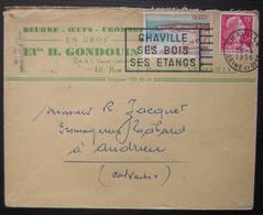 Versailles 1956 Ets H. Gondouin, Beurre Oeufs Fromage, Cachet De Chaville + Flamme - Postmark Collection (Covers)