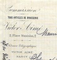 Facture Lettre 1883 / 54 NANCY / V. AIME / Articles De Brasserie / Pour M. Ladague Brasseur à BRUYERES 88 - 1800 – 1899