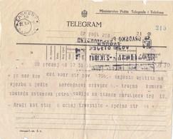 Yugoslavia Telegram For Military Assignment WW II Start 02.IV 1941 - Yougoslavie