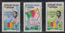 Cameroun, 1963, Reunification, Flags, Map, MNH, Michel 395-397 - Cameroon (1960-...)