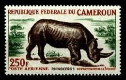 Cameroun, 1964, Rhino, Animals, Fauna, MNH, Michel 421 - Cameroun (1960-...)