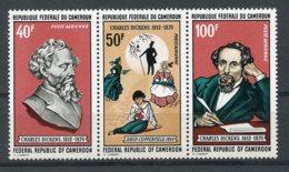 Cameroun, 1970, Charles Dickens, Author, Writer, Books, MNH Strip, Michel 634-636 - Camerun (1960-...)