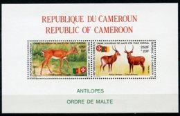 Cameroun, 1991, Antelope, Animals, Fauna, Order Of Malta, MNH, Michel Block 29 - Camerún (1960-...)