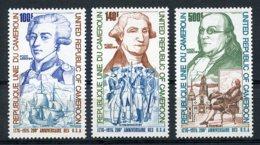 Cameroun, 1975,  USA Bicentennial, Washington, Franklin, Lafayette, Ship, MNH, Michel 809-811 - Kameroen (1960-...)