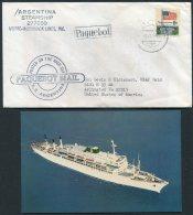 1968 USA Iceland Reykjavik Argentina Steamship Moorre McCormack Line Paquebot Ship Cover + Postcard - 1944-... Republic