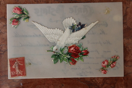 CARTE FANTAISIE - COLOMBE - CARTE EN CELLULOID - Fancy Cards