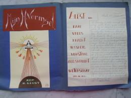 Belgie Schriek 1938-1939 Godsdienst Boek Gemaakt Door Leerling Met Prentjes, Tekeningen En Kranteknipsels - Andachtsbilder