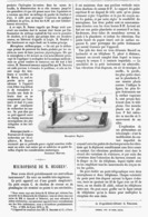 LE MICROPHONE De M. HUGUES  1878 - Technical