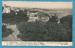TARRAGONA - Paseo Calvo Sotelo Y Playa Del Milagro - Carte Circulé 1950 - Tarragona