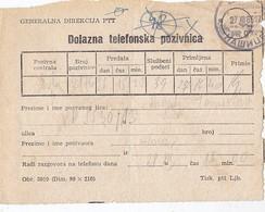 Yugoslavia Receipt For Telephone Call , Nasice 1965 - 1945-1992 Socialist Federal Republic Of Yugoslavia