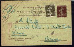 FR - 1923 - Carte Postale Semeuse 20 Ct + 40 De Paris Pour Wismar (All) B/TB - - Postales Tipos Y (antes De 1995)