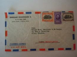 Costa Rica 1959 Lettre Cover San Jose To Alost  Belgium Theatro National Yv PA 167 169 - Costa Rica